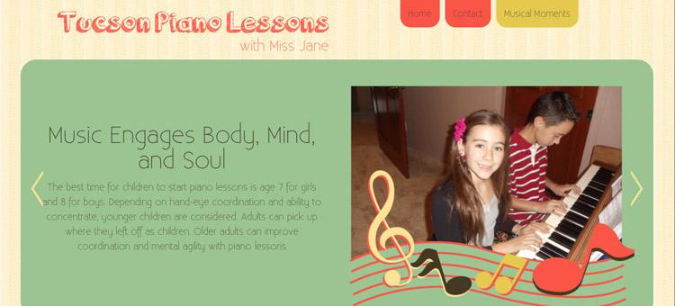 Tucson Piano Lessons website screenshot
