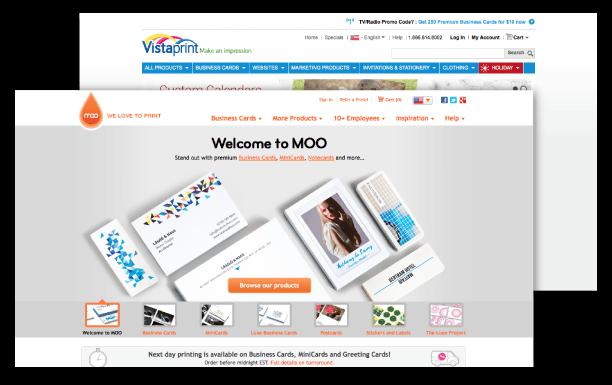 Moo & VistaPrint Screenshots