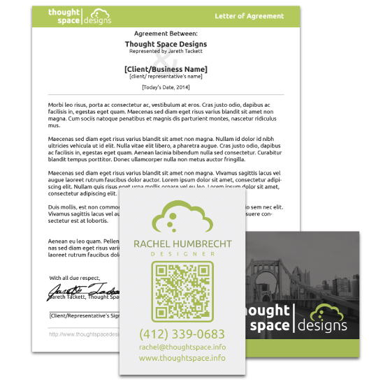 print material examples, business cards and letterhead