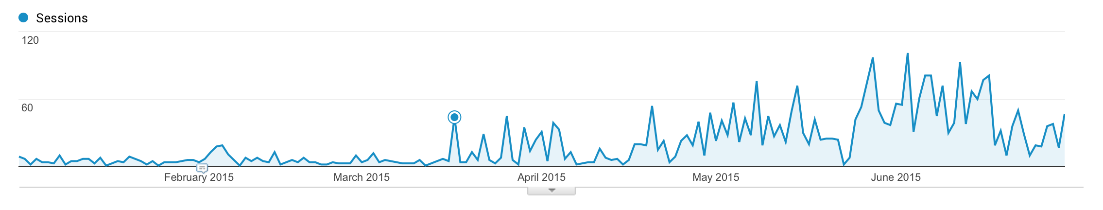 Google Analytics for Jäger and Friends Dog Park during the first 6 months of 2015
