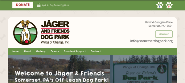 Jäger and Friends Dog Park New Website Screenshot