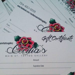 Cecilia's Main St. Tattoo Gallery logo on gift certificates
