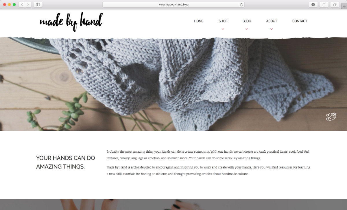 Website preview for Made by Hand DIY blog