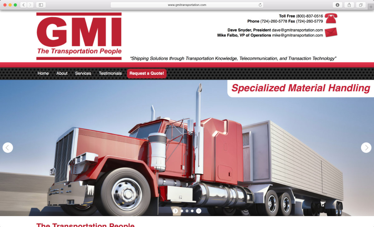 GMI Transportation website preview on a laptop