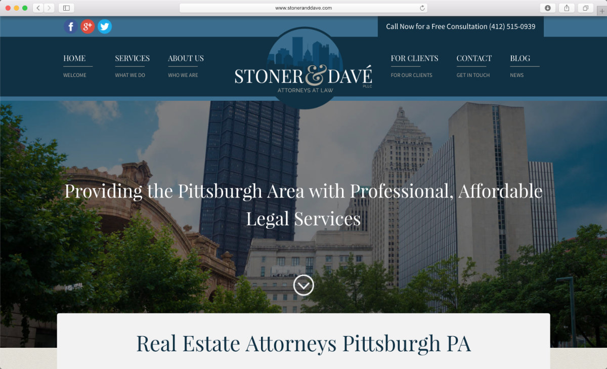 Screenshot of Stoner & Davé new website