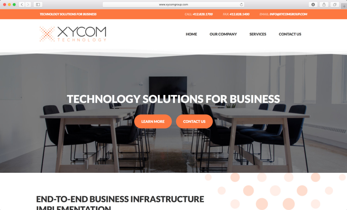 Website mockup of XYCOM Technology Group
